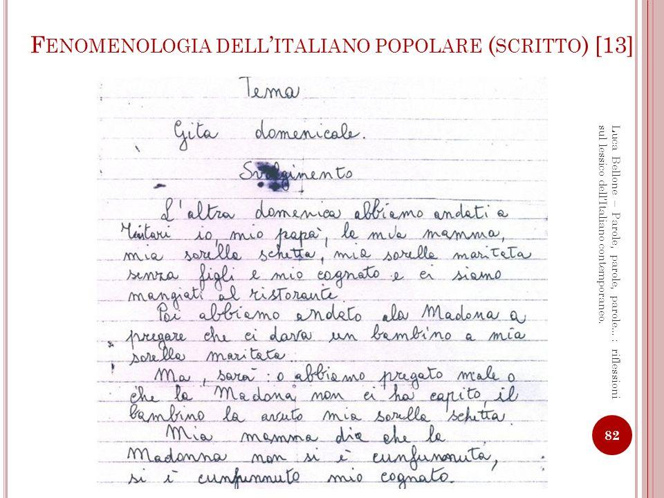 Fenomenologia dell'italiano popolare (scritto) [13]